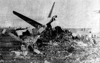 Avión Fokker destruido por Del Pino